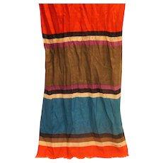 Liz Claiborne Color Block Stripe Long Scarf Loose Weave Silk Teal Red Beige Purple Black Fringe Made in Japan