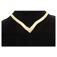 Gold Tone Clear Rhinestone V Necklace Collar Herringbone Chain