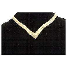 Gold Tone Clear Rhinestone V Necklace Collar Herringbone Chain