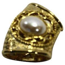 Faux Pearl Basketweave Gold Tone Slide Pendant Large