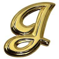 G Script Initial Gold Tone Pin Brooch
