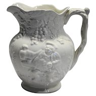 Spode Imperial Fancies White Man Sitting Embossed Grapes 48 oz Jug Pitcher 7 IN