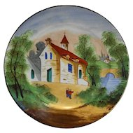 Church Scene Hand Painted Pottery Plate 8 5/8 IN