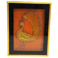 Peacock Shadow Box Gold Thread String Nails Sequins Art Framed