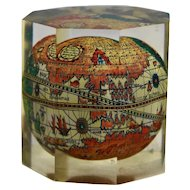 World Map Globe Italian Lucite Paperweight Octagonal Prism