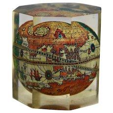 World Map Globe Italian Lucite Paperweight Octagonal Prism