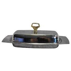 Kromex Chrome Butter Dish 3 Piece Gold Handle Glass Insert