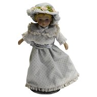 Avon 1983 Porcelain Doll 8 IN Kate Victorian Swiss Dot Dress