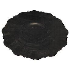 Mt Pleasant Black Depression Glass Footed Cake Plate L E Smith