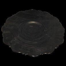Mt Pleasant Black Depression Glass Footed Cake Plate L E Smith