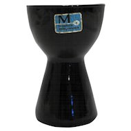 Morgantown Barton Black Glass Candle Holder Original Label Midcentury Modern