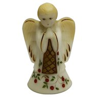Fenton Custard Angel Boy Bell Hand Painted Christmas Susan Bryan Artist Signed