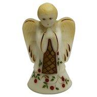Fenton Custard Angel Boy Bell Hand Painted Christmas Susan Bryan Artist Signed