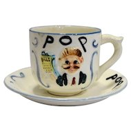Pop Figural Hand Painted Pottery Oversize Cup Saucer