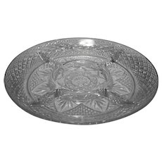 J G Durand Antique Pattern Clear Glass 5 Part Divided Relish Plate