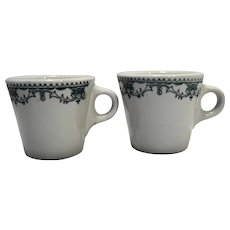 Mayer China Marion Nassau Green Transferware Restaurant Ware Mugs Pair