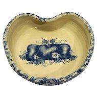 Blue Spongeware Sponge Apple Shaped Decorated Pottery Bowl Ellis Prod Marshall Texas