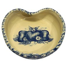 Blue Spongeware Sponge Apple Shaped Decorated Pottery Bowl Ellis Prod Marshall Texas