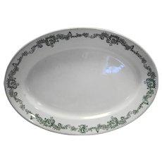 John Maddock Sons Burley Chicago Vitrified China Oval Platter Green Transferware Restaurant Hotel Ware 1890s