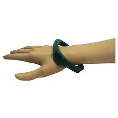 Dark Green Lucite Octagon Paneled Bangle Bracelet