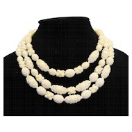 Western Germany Elaborate White Plastic Beads Triple Strand Necklace Fruit Salad
