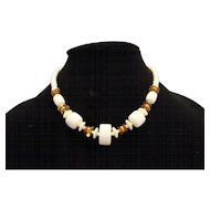 Cream Amber Lucite Beads Choker Necklace Single Strand