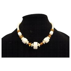 Cream Amber Lucite Beads Choker Necklace Single Strand