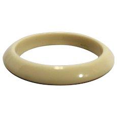 Cream Beveled Lucite Bangle Bracelet