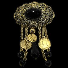 Western Germany Gold Tone Filigree Black Lucite Dangles Pin Brooch