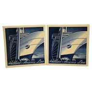Art Deco Style Delft Tile Holland America Line Statendam Cruise Ship Pair Trivets