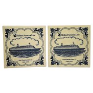 Delft Tile Holland America Line MS Westerdam II Cruise Ship Pair Trivets
