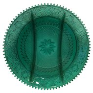 Tiara Exclusives Spruce Green Sandwich 3 Part Relish Plate Dish 12 IN