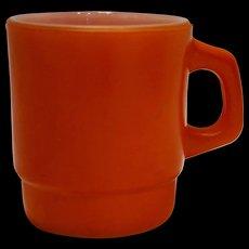 Anchor Hocking Orange Fired On Milk Glass Stacking Mug