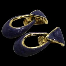 Purple Swirl Enamel Gold Tone Doorknocker Earrings