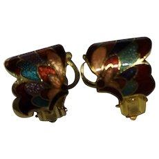Cloisonne Enamel Butterfly Earrings Clips