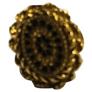Black Gold Oval Ring Machined Cut Starburst Adjustable
