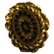 Black Gold Oval Ring Machined Cut Starburst Adjustable