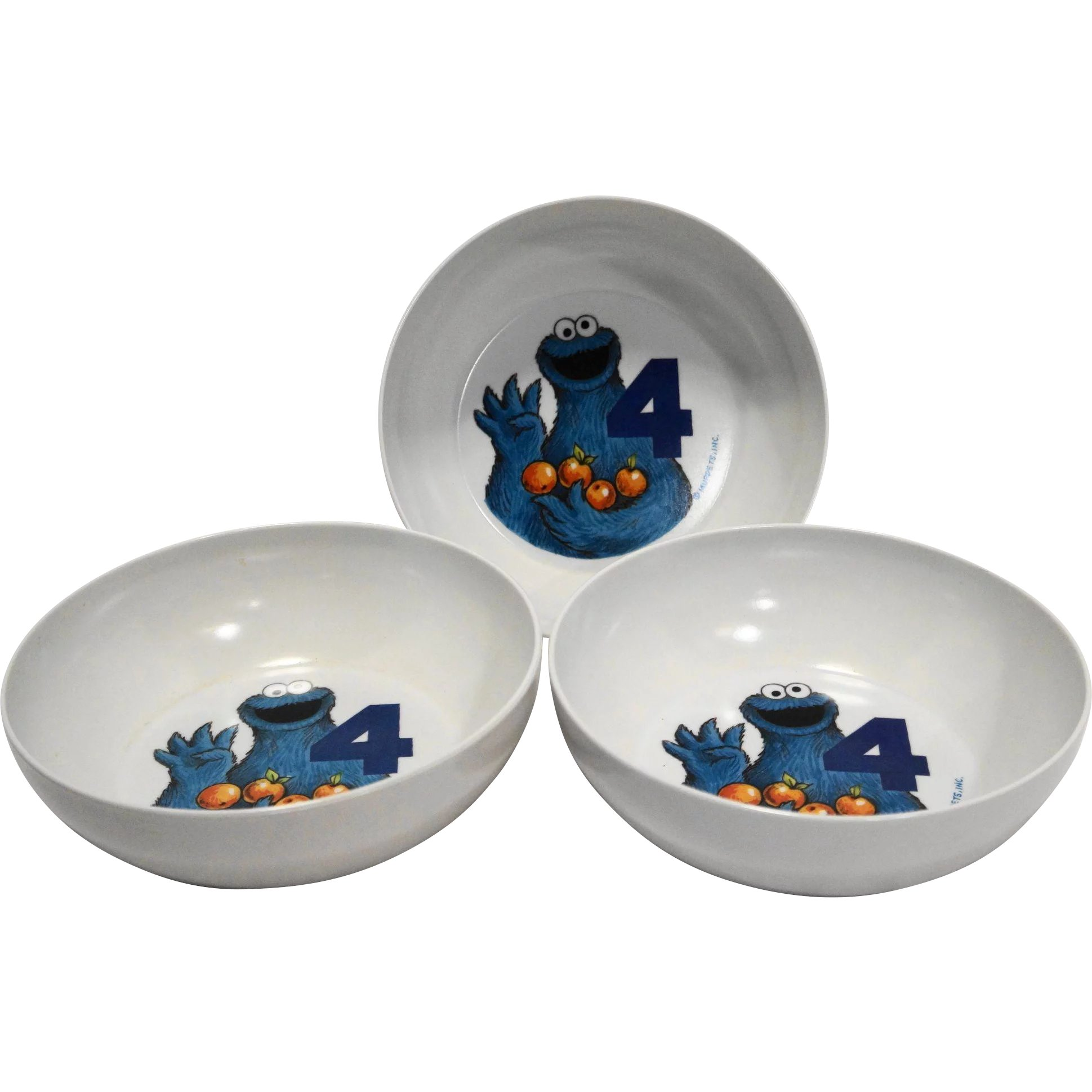 Cookie Monster Cereal Bowls Melmac Set of 3 Sesame Street Muppets  Hoosier Collectibles | Ruby Lane  sc 1 st  Ruby Lane & Cookie Monster Cereal Bowls Melmac Set of 3 Sesame Street Muppets ...