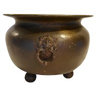 Russian Brass Lion Head Handles Planter Cauldron Kettle Pot Ball Feet Large 13 IN