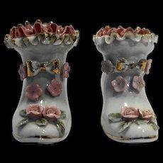 Porcelain Shoe Pair Ruffle Rim Applied Pink Flowers Gold Trim