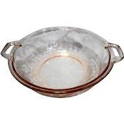 Floral Pink Depression Jeannette Glass Round Vegetable Dish Base Only