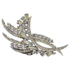 Crown Trifari Clear Rhinestone Fern Spray Leaf Pin Brooch Rhodium Plated