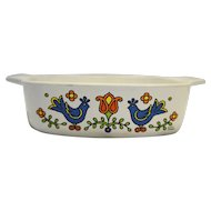 Corning Country Festival Friendship Blue Bird 1 Qt Casserole No Lid