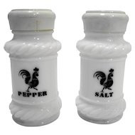Black Rooster White Milk Glass Salt Pepper Shakers