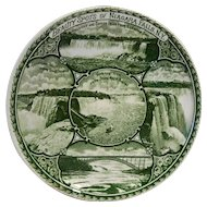 Rowland Marsellus Beauty Spots of Niagara Falls Green Transferware Souvenir Plate 6 IN
