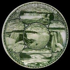 Rowland Marsellus Beauty Spots of Niagara Falls Green Transferware Souvenir Plate 6 IN