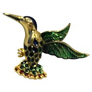 Blue Green Enamel Hummingbird Pin Brooch Gold Tone