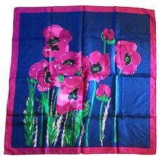 Vera Bold Floral Scarf Fuchsia Poppies Navy Blue Square