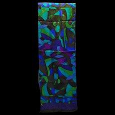 Capella Silk Scarf Oblong Purple BLue Green Jewel Tones Abstract 63 x 10