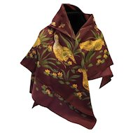 Yves Loranne Paris Scarf Burgundy Brown Birds Quail Polyester 30 IN